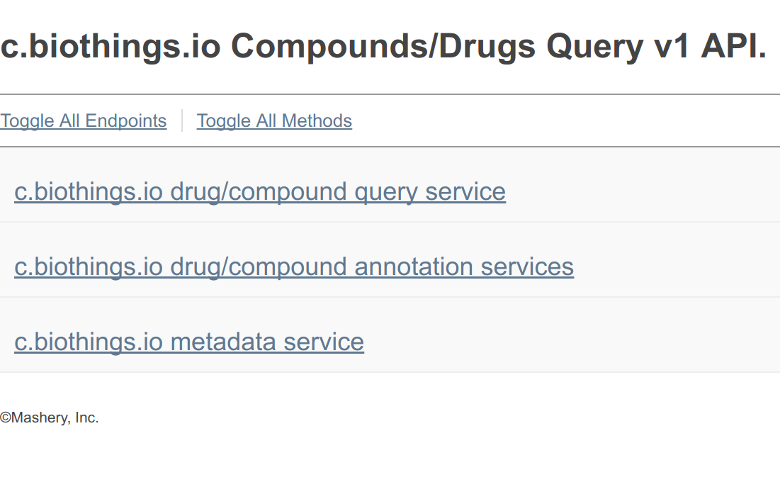 compound and drug API landing page