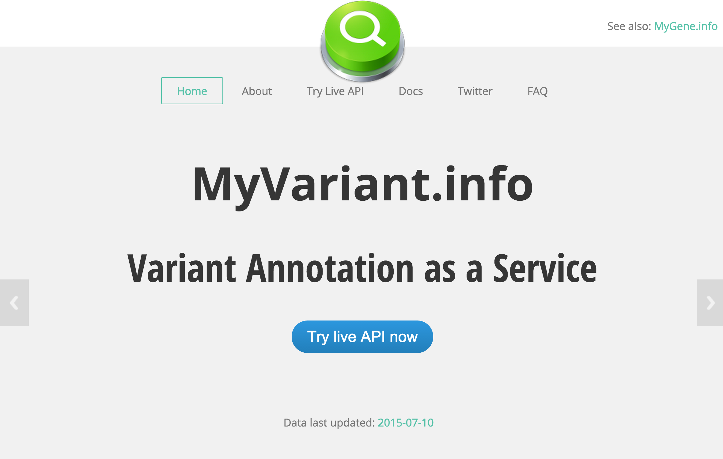 myvariant.info landing page