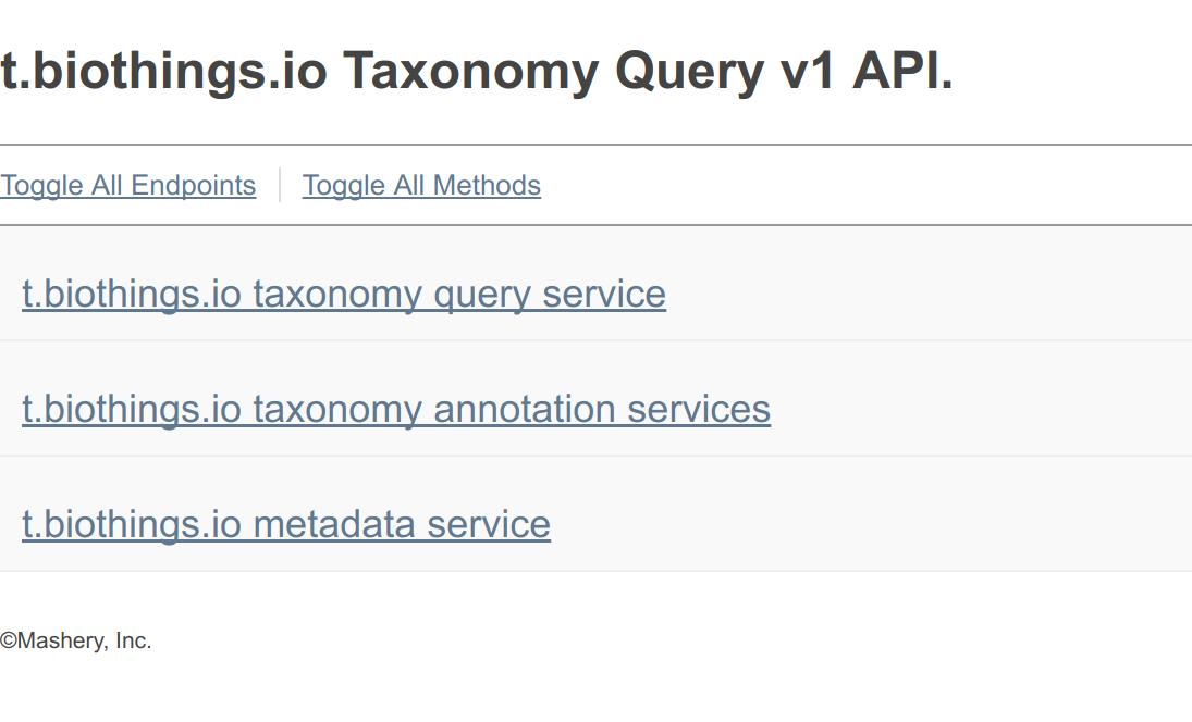 taxonomy api landing page