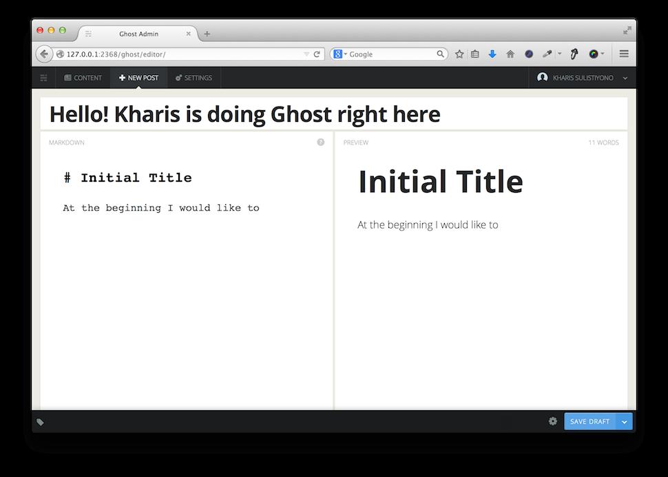Trying Ghost Blogging Platform