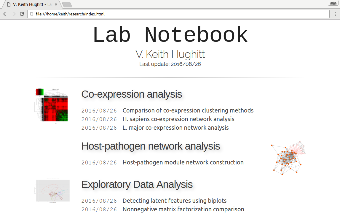 Screenshot of labnote-generated table of contents