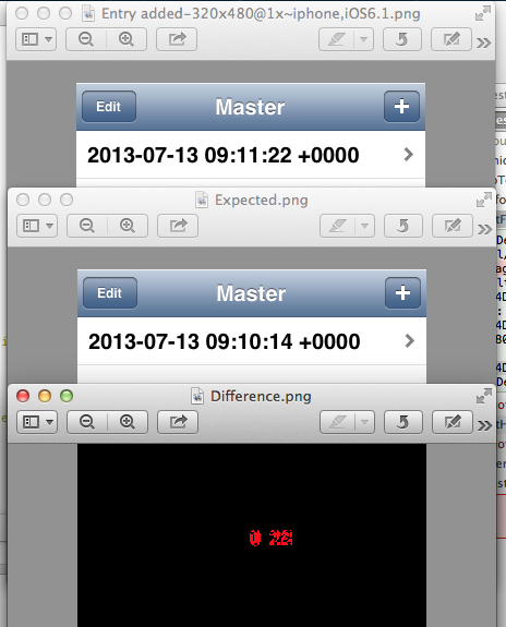 Three output files showing differences