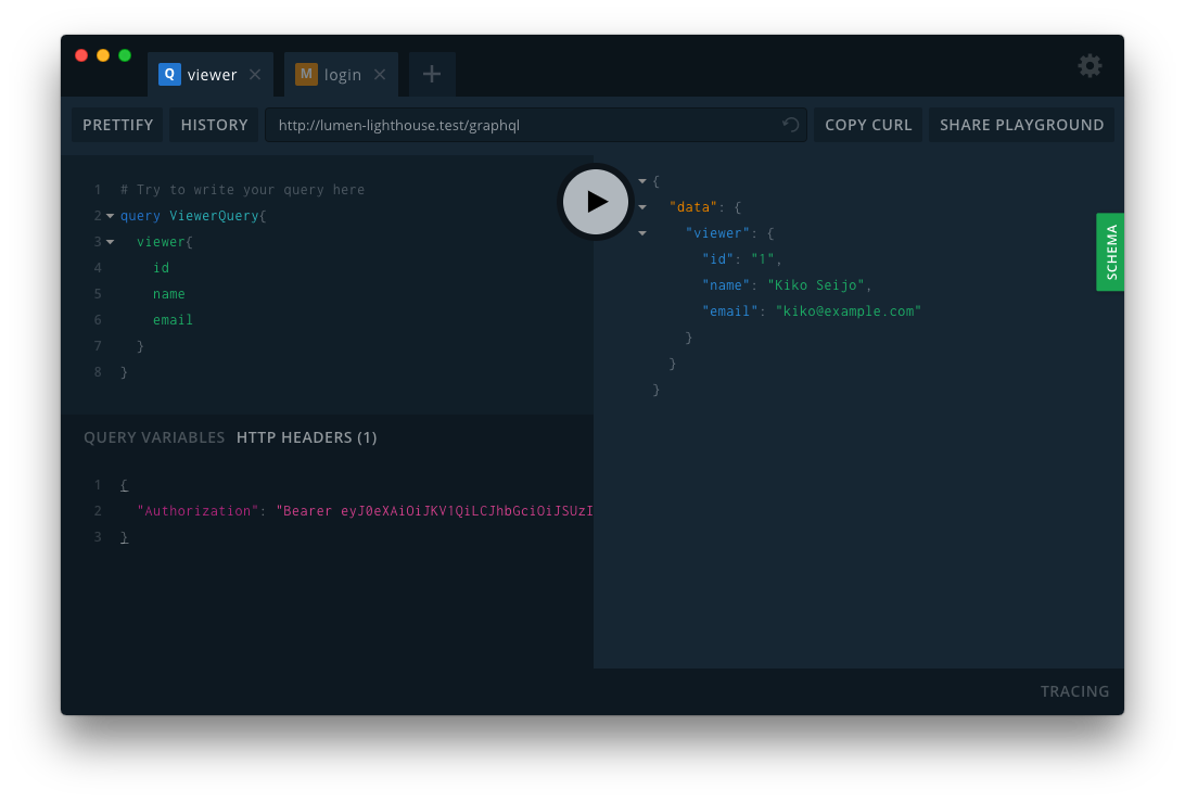 GraphQL viewer Query with a Laravel Passport bearer token using Lighthouse auth middleware