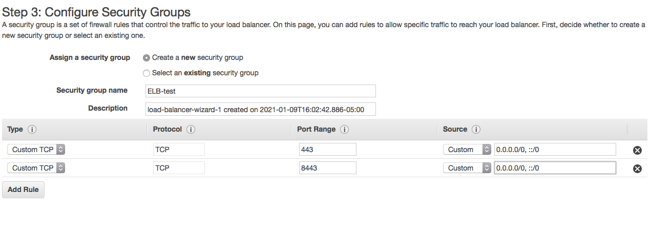 ELB configure security groups