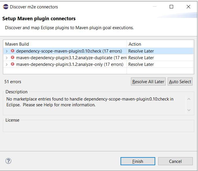 m2e plugin errors