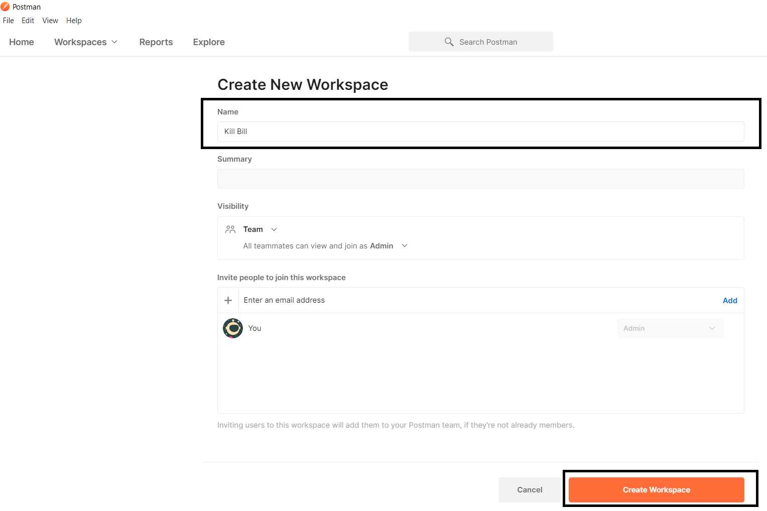 postman create new workspace2