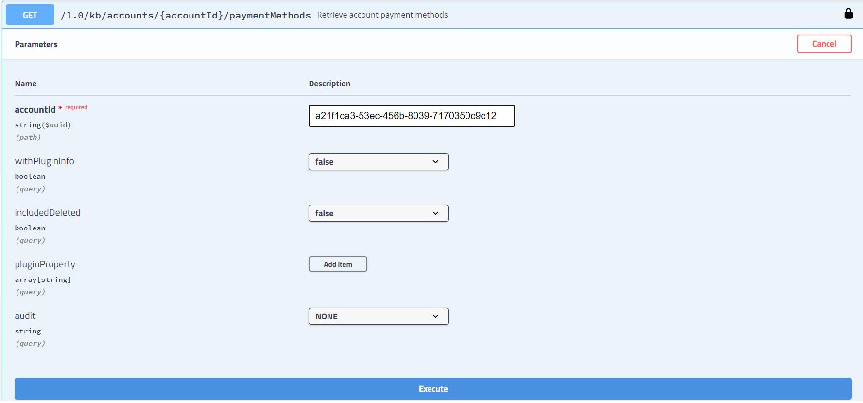 retrieve account payment method execution2