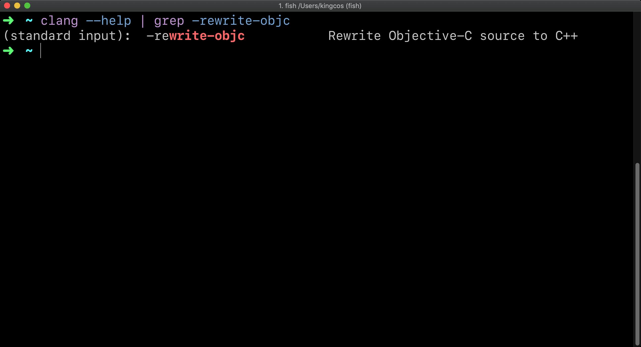 clang --help | grep -rewrite-objc