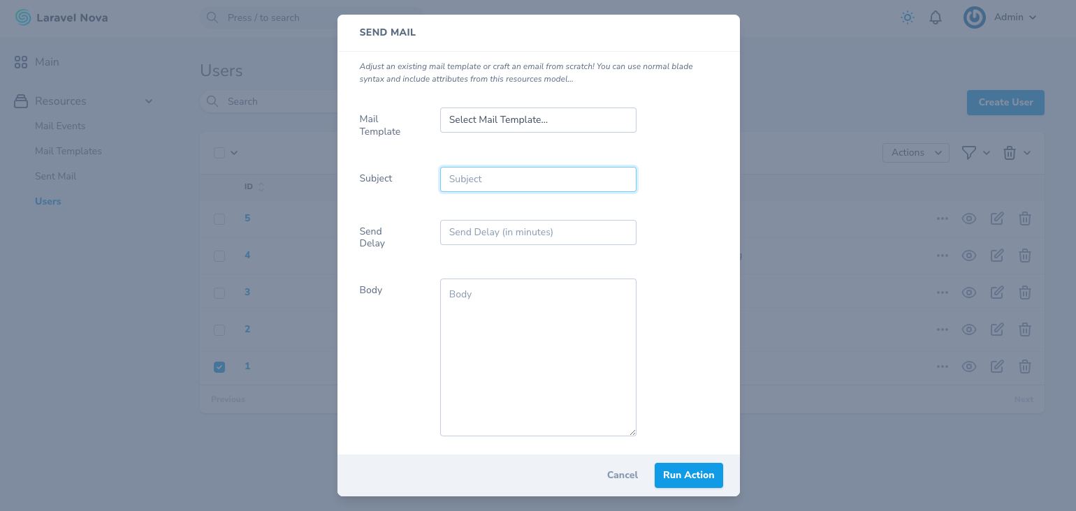 screenshot of the send mail action modal