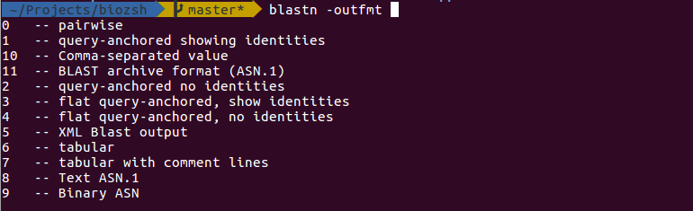 blastn -outfmt completion