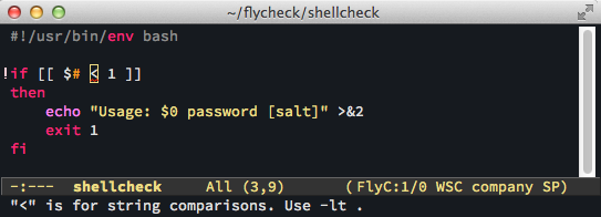 Screenshot of emacs showing inlined shellcheck feedback