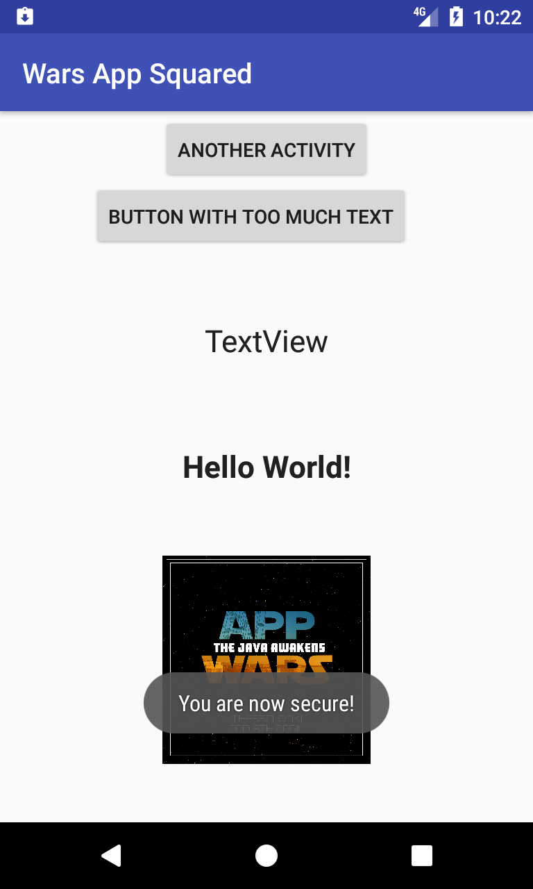 Screenshot of the app's MainActivity, showing 2 buttons, 2 text boxes, an image and a notification on the bottom of the screen
