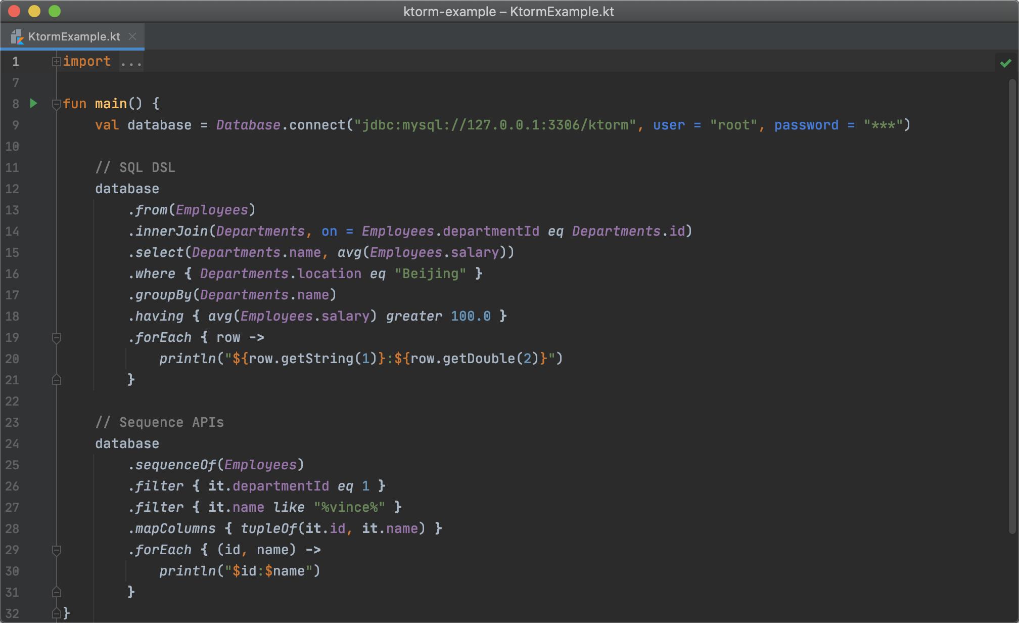 Exemple de code Ktorm
