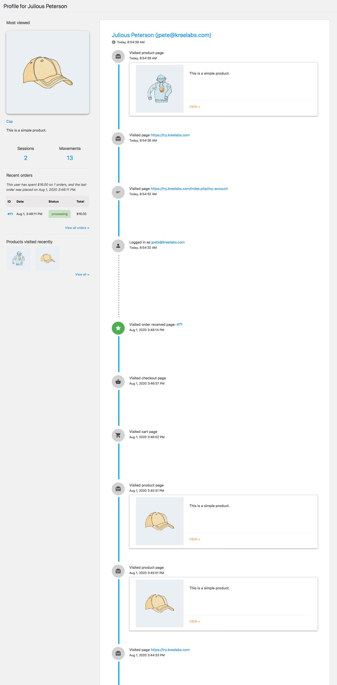user activity profile