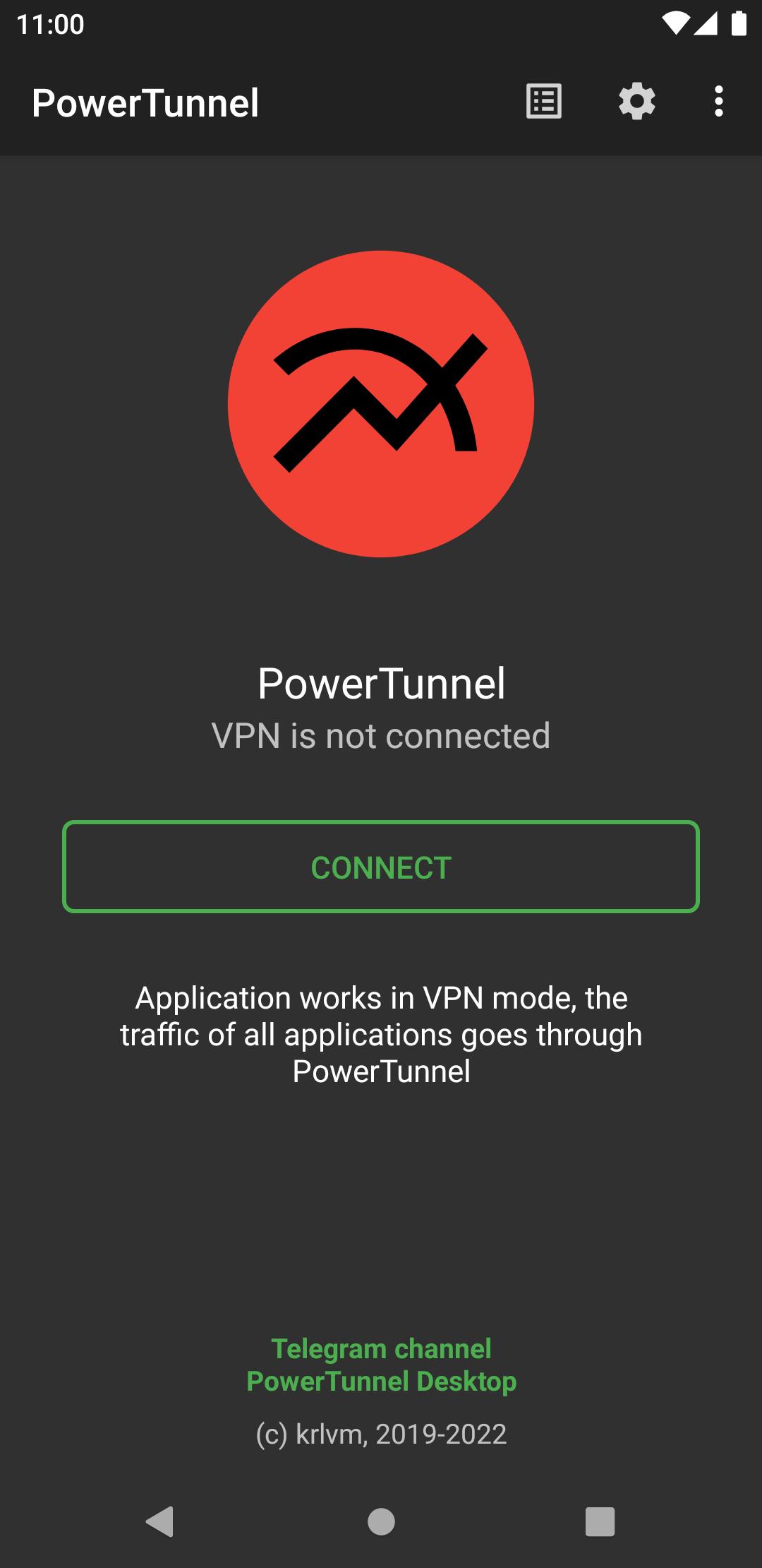 PowerTunnel User Interface