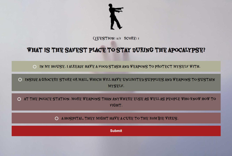 Screenshot of quiz in action
