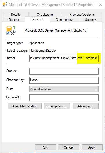 SSMS link nosplash option