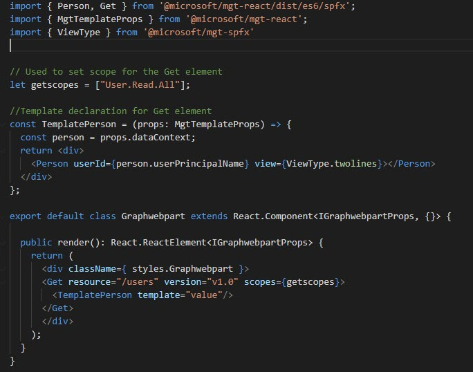 MSGraph Get Component in SPFX
