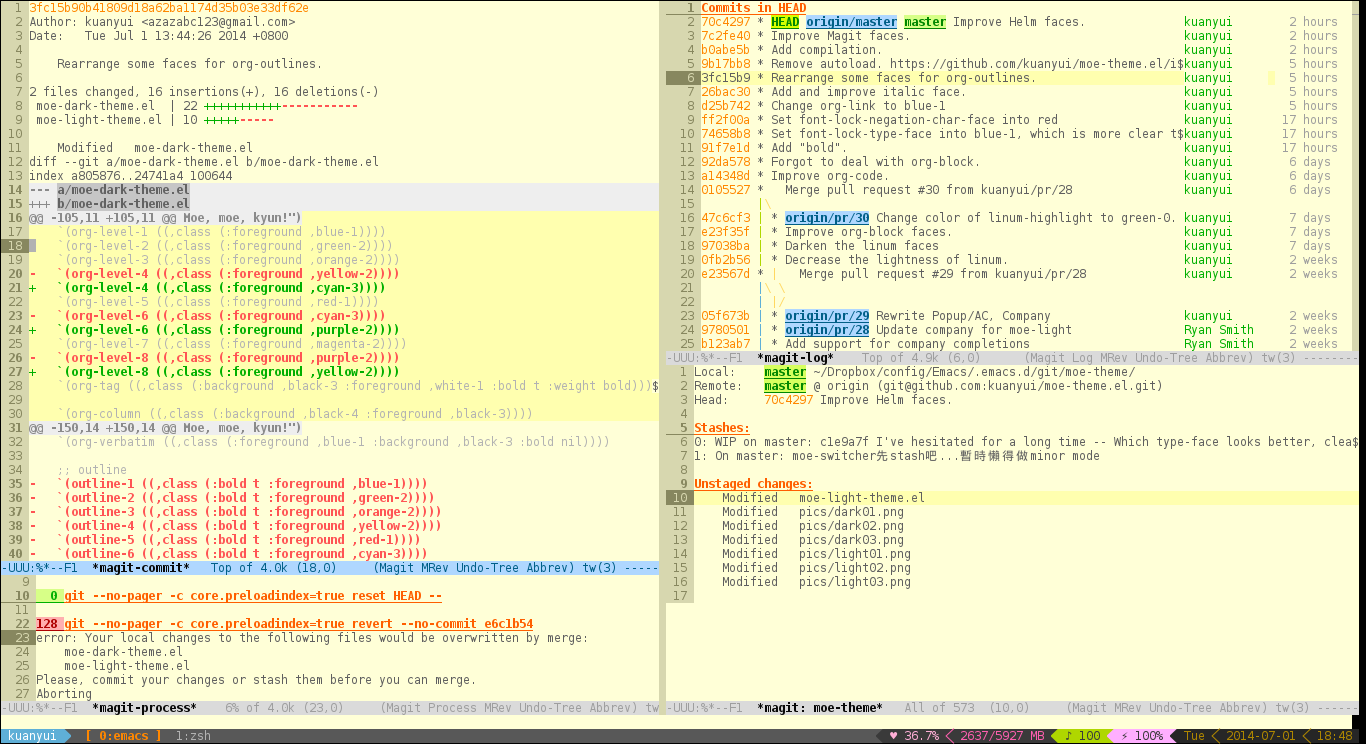 github kuanyui moe theme el a customizable colorful eye candy what special