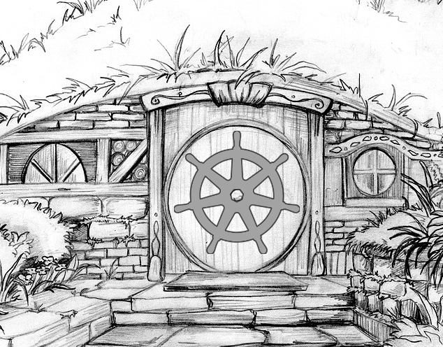 Hobbit Hole with Kubernetes Logo.