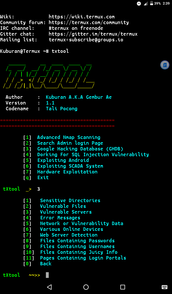 txtool: easily pentesting in termux • Penetration Testing