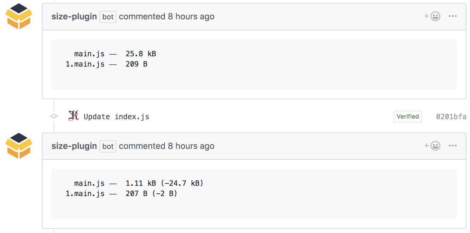 size-plugin commenting on a PR with bundle stats