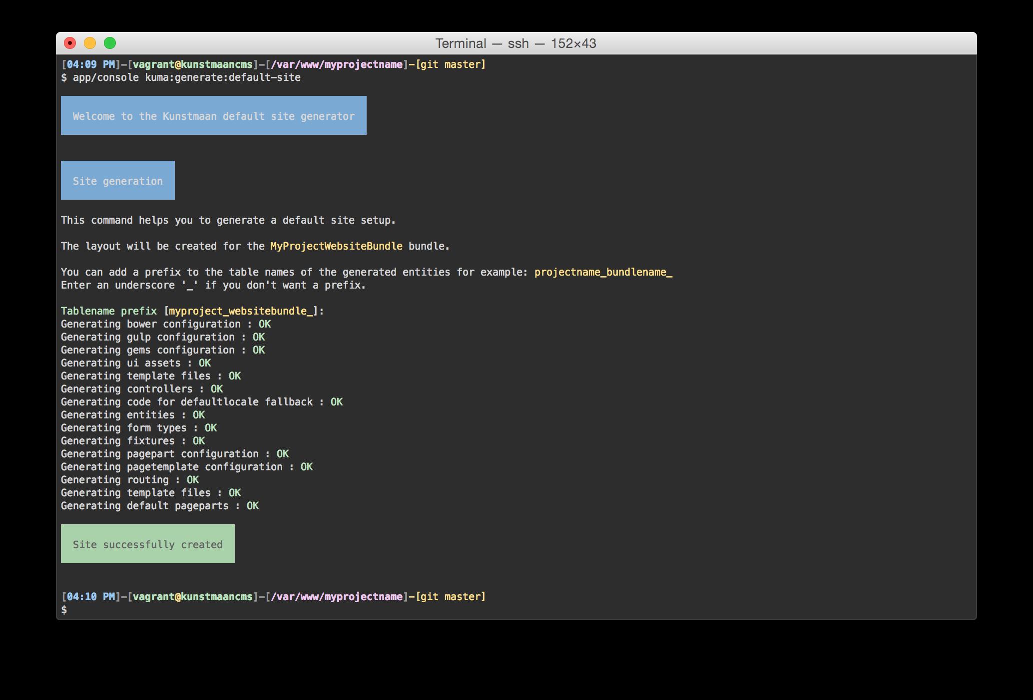 bin/console kuma:generate:default-site