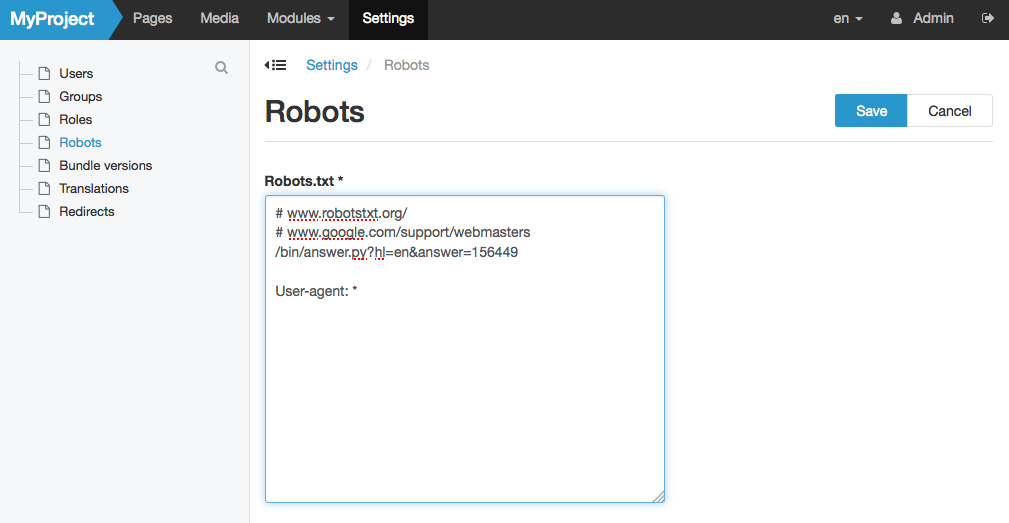Administering the robots.txt