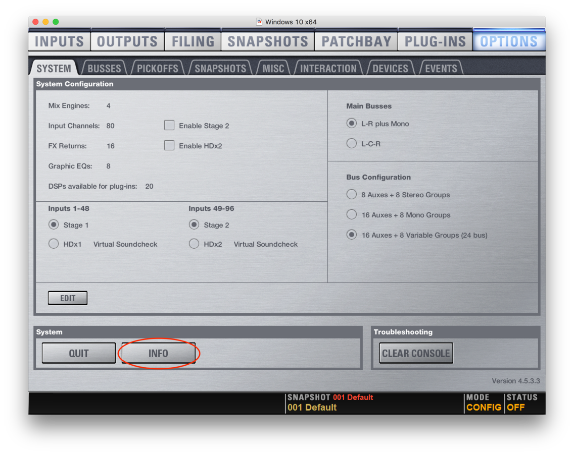 Avid VENUE - Options - System - Info