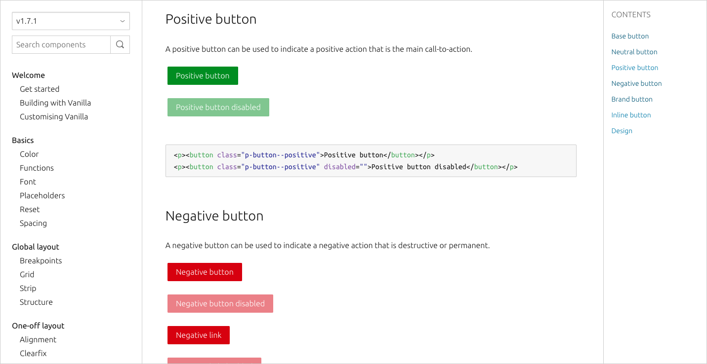 Vanilla documentation buttons