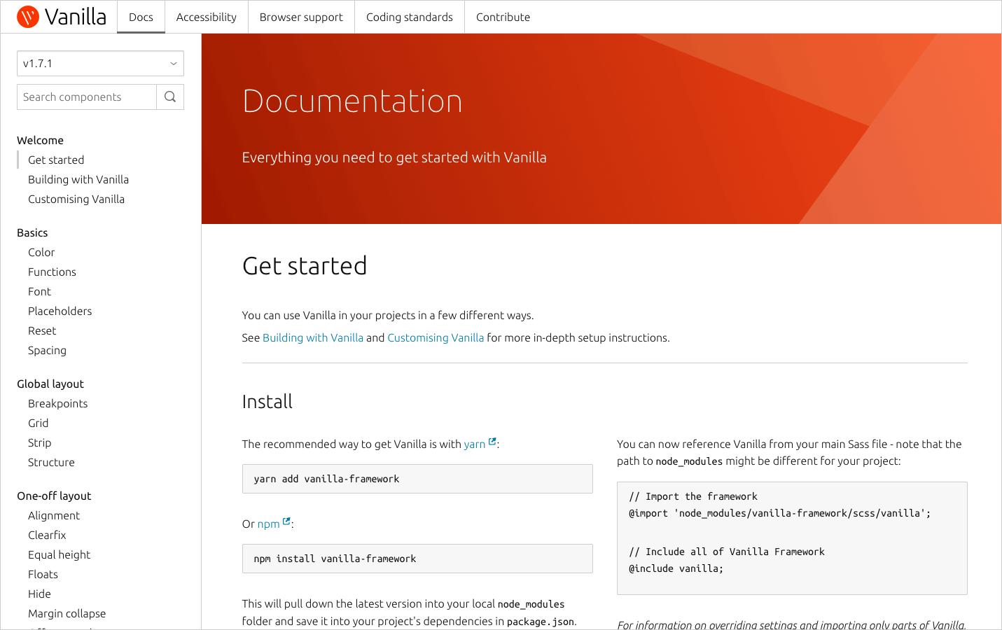 Vanilla documentation