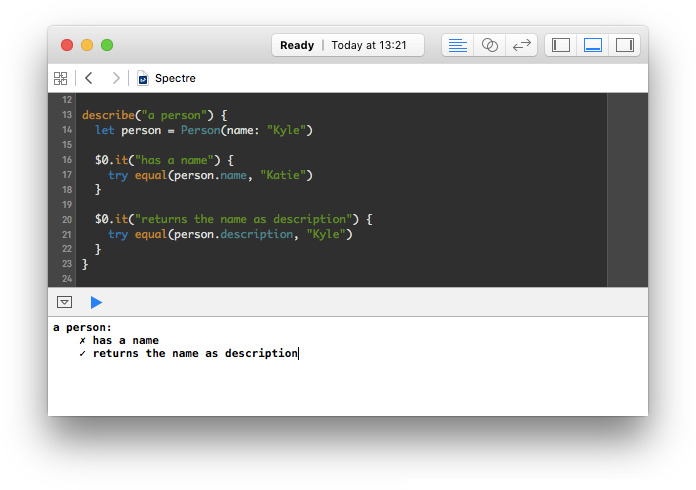 Spectre in an Xcode Playground