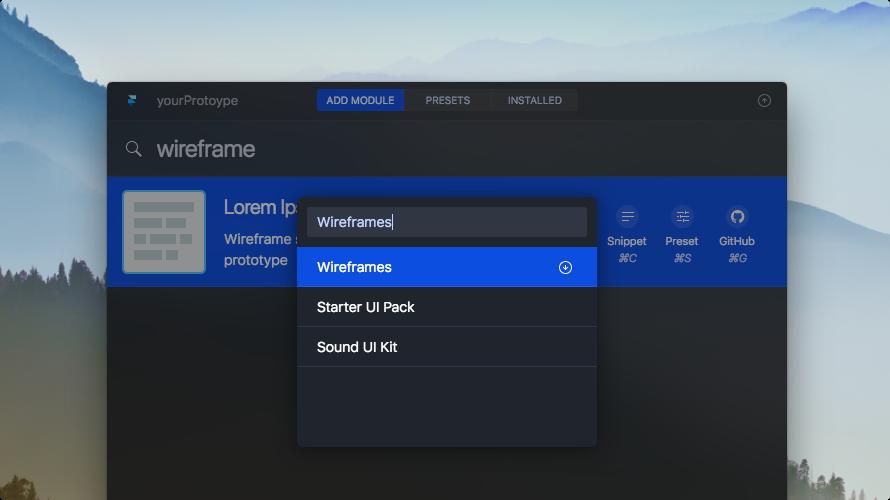 Screenshot of adding module to a preset