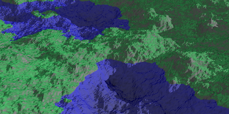 Raytraced terrain generated with the diamond-square algorithm
