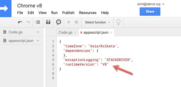 Google Apps Script - v8 Runtime