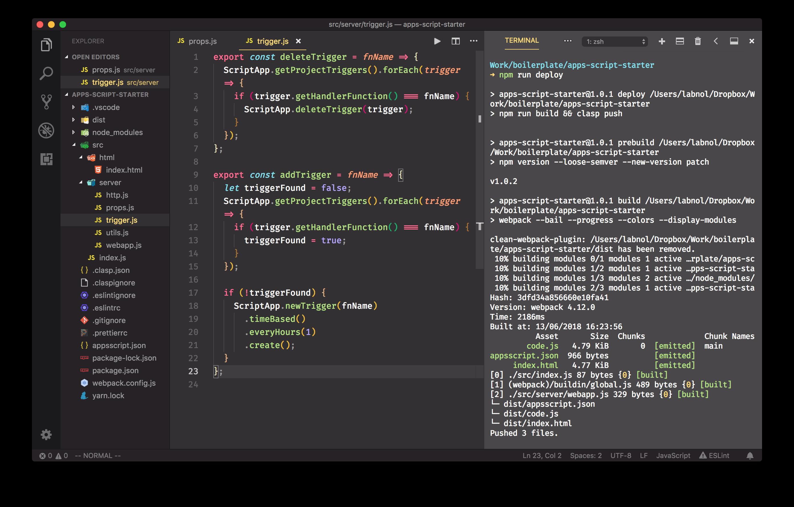 Google Apps Script Development with ES6