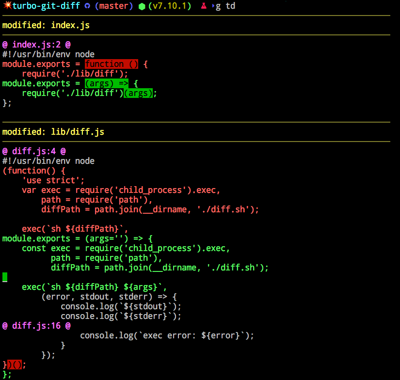 git diff with master