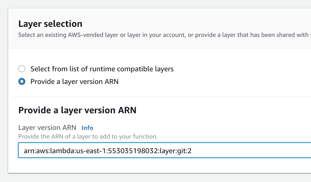 Provide layer ARN