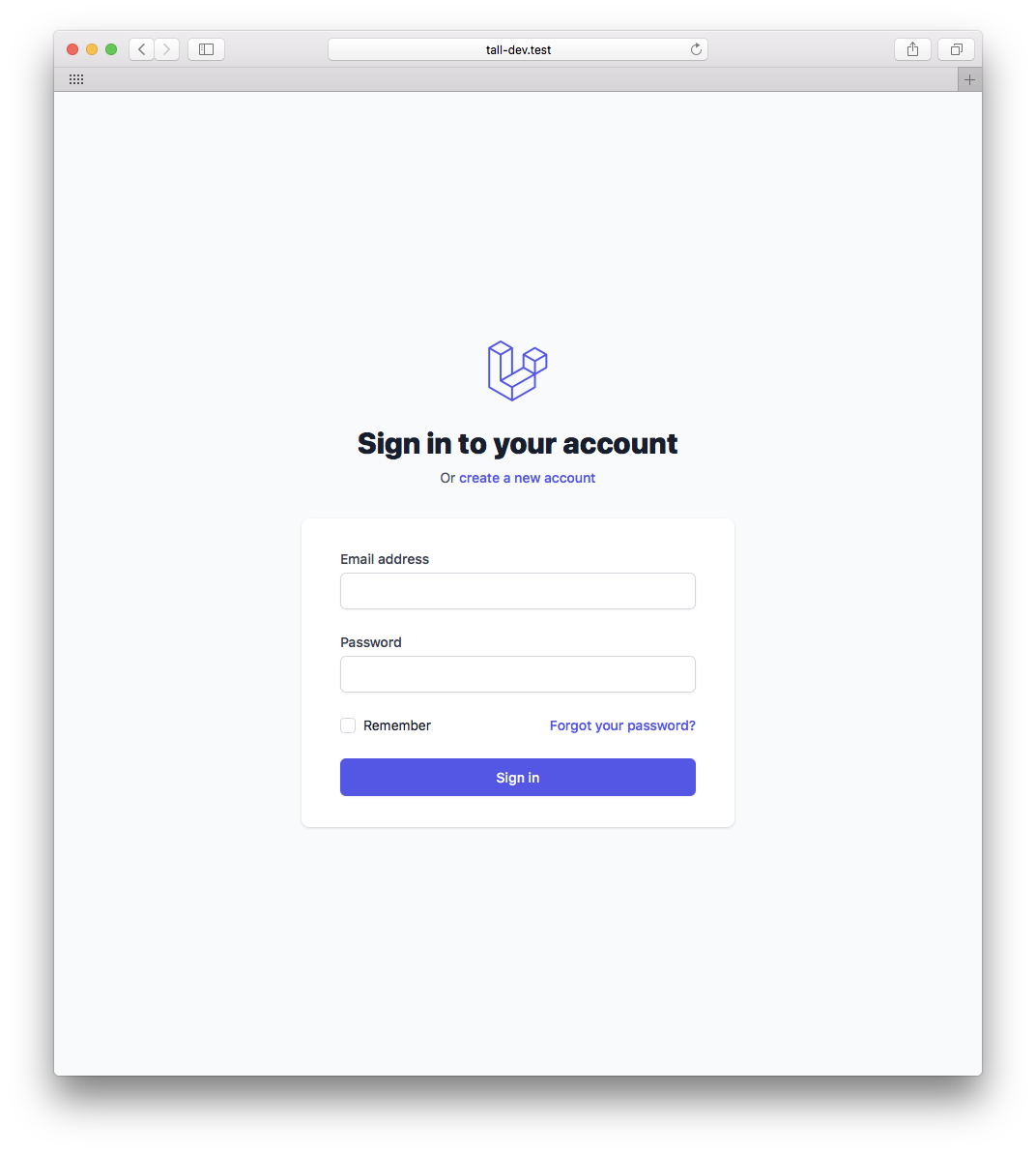 Login View avec Tall frontend preseet