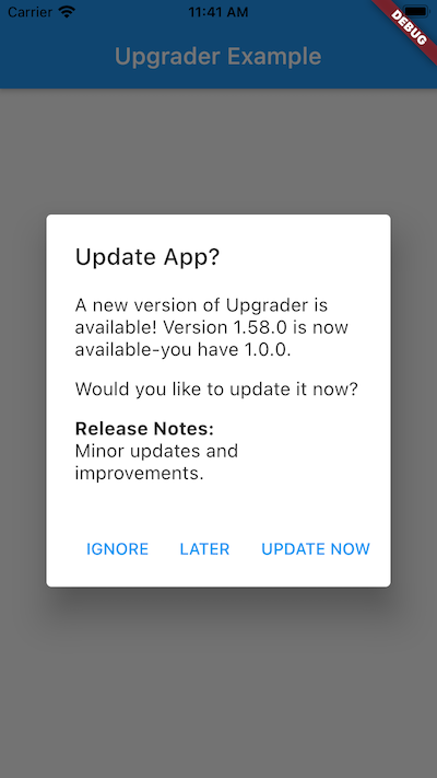 Flutter Upgrade Dialog Package