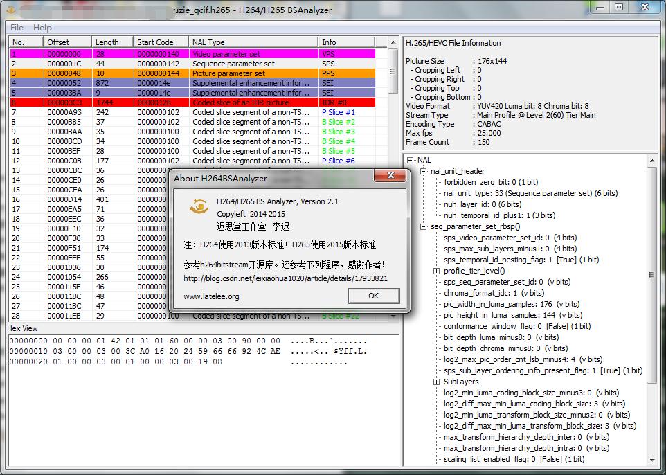 H265码流分析工具v2.1--latelee.org