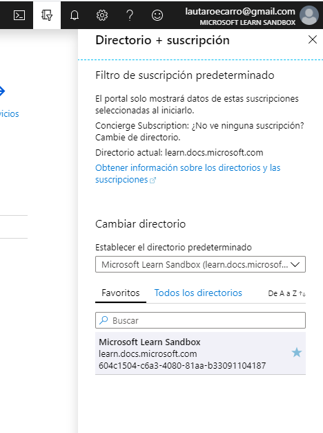 Suscripción llamada Microsoft Learn SandBox