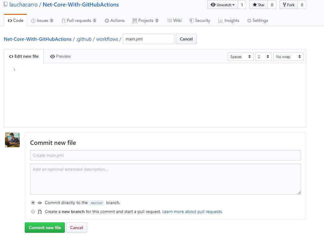 Creando nuevo archivo  '.github/workflows/main.yml'