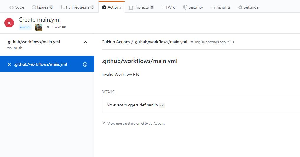 Menu GitHub Actions