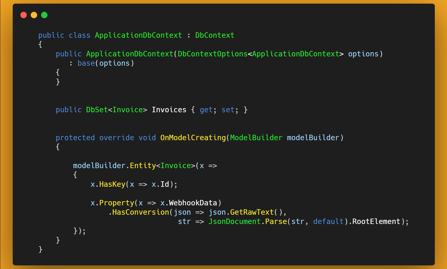 Configuraciones para guardar un JSON con EntityFramework