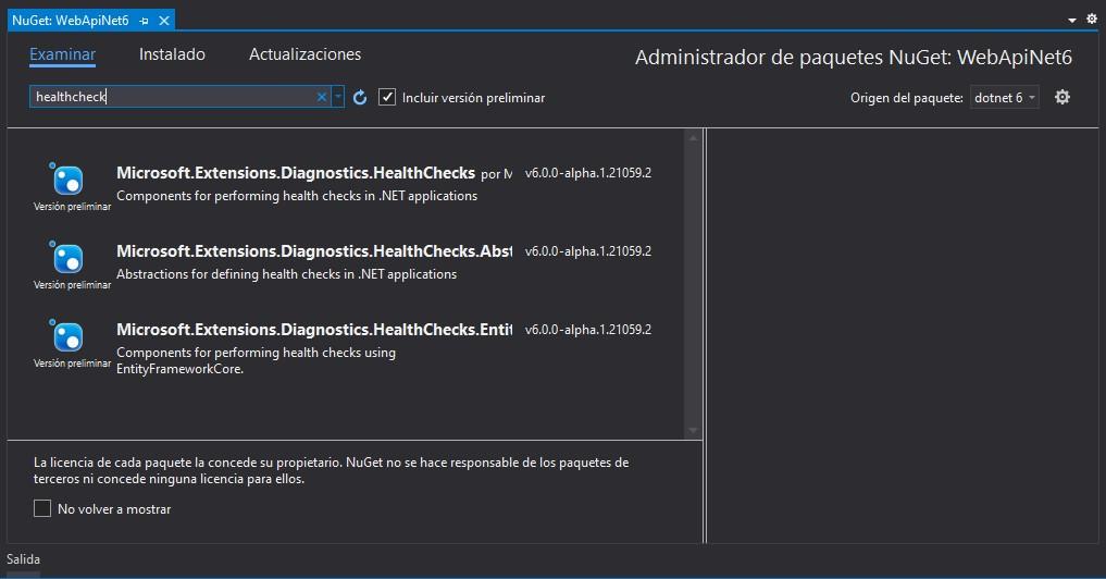 Paquetes de .NET 6