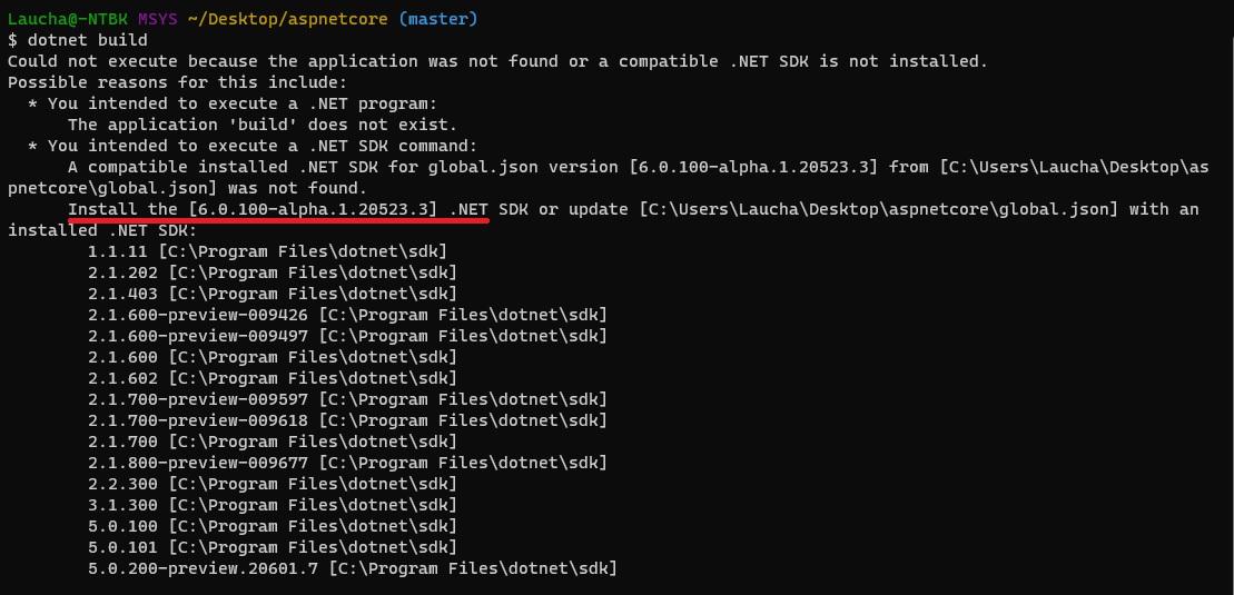 mensaje de error solicitando .NET 6