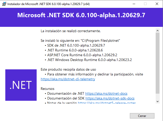 Instalación de .NET 6 hecha exitosamente