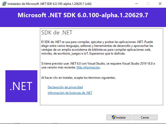 Iniciando la instalación de .NET 6