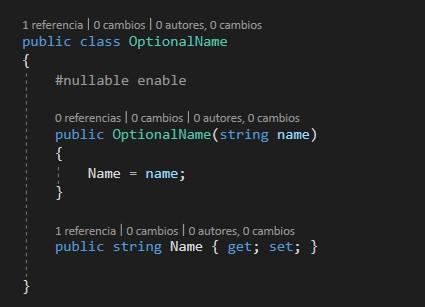 Código de NET 6 sin advertencia de NULL Reference y con un constructor